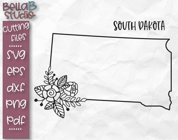 Floral South Dakota Map SVG File