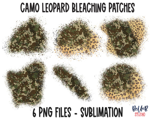 Camo and Leopard Sublimation Patches - T Shirt Bleaching Patches