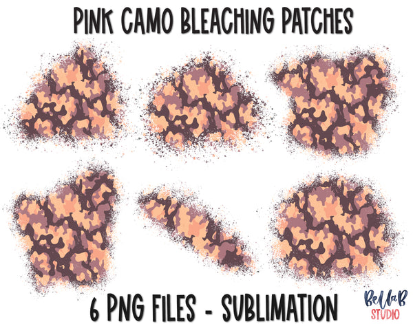 Pink Camo Sublimation Patches - T Shirt Bleaching Patches