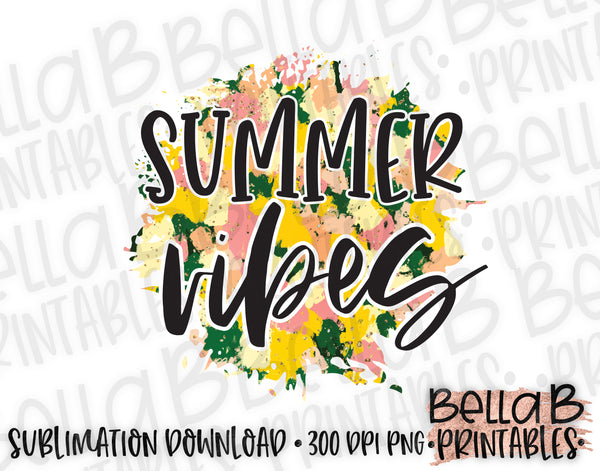 Summer Vibes Sublimation Design, Summer Design