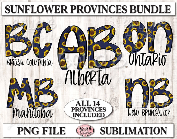 Canadian Provinces Sunflower Sublimation Bundle