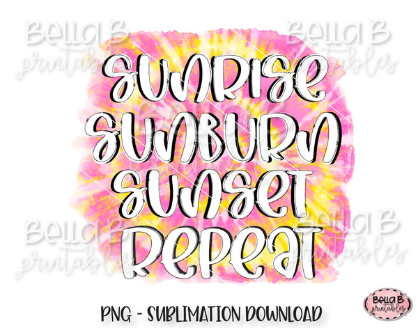 Sunrise Sunburn Sunset Repeat Sublimation Design, Summer Design