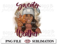 Sweater Weather Sublimation Design, Fall Girl