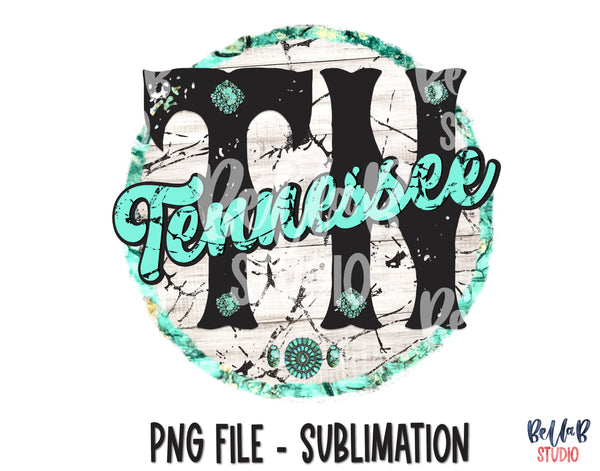 Tennessee Turquoise Sublimation Design