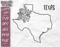 Floral Texas Map SVG File
