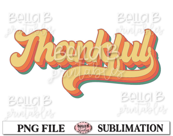 Retro Thankful Sublimation Design