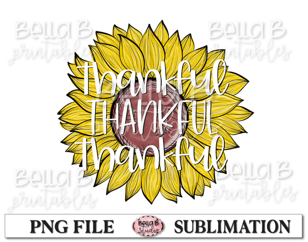 Thankful Sunflower Sublimation Design