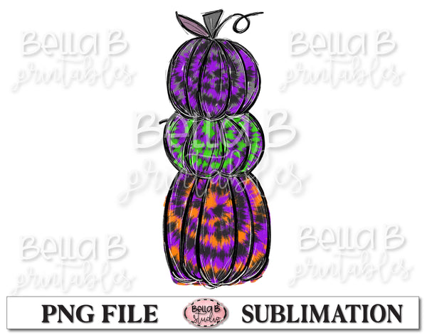 Tie Dye Halloween Pumpkins Sublimation Design, Hand Drawn