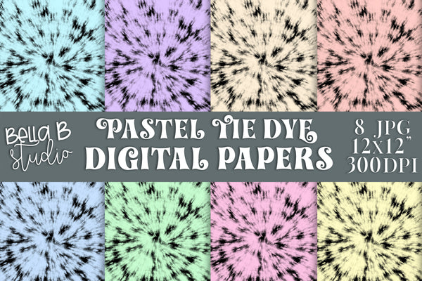 Pastel Tie Dye Digital Papers