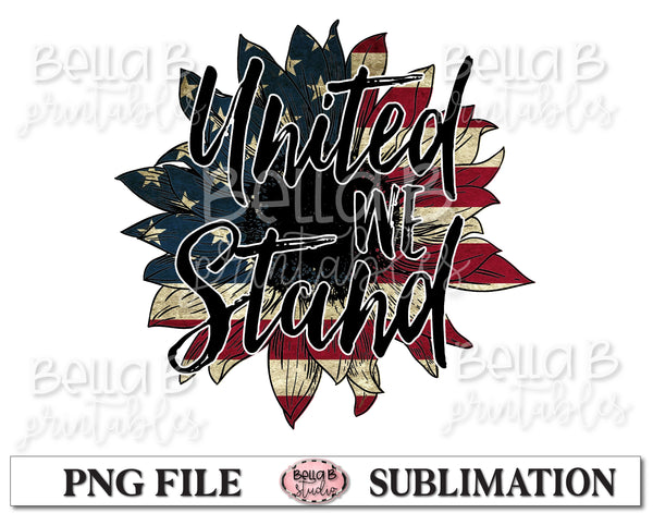 United We Stand, America Sunflower Sublimation Design