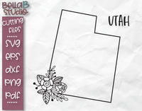 Floral Utah Map SVG File
