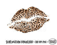 Valentine's Day Sublimation Design, Leopard Print Lips