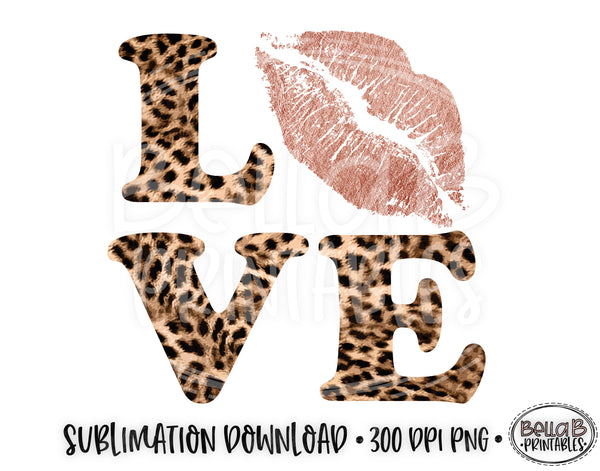 Valentine's Day Sublimation Design, Love, Pink Lips, Leopard Print