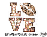 Valentine's Day Sublimation Design, LOVE, Leopard Print Lips, Marquee Letter
