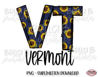 Sunflower Vermont State Sublimation Design