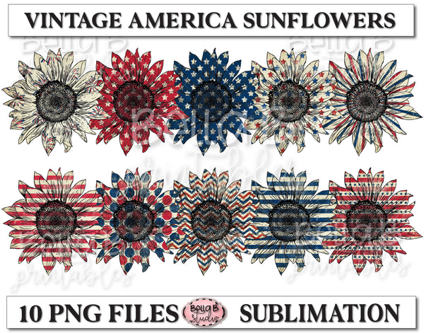 Patriotic, American Sunflower Sublimation Elements Bundle