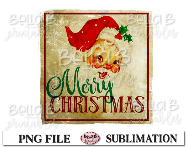 Vintage Santa Sublimation Design, Merry Christmas