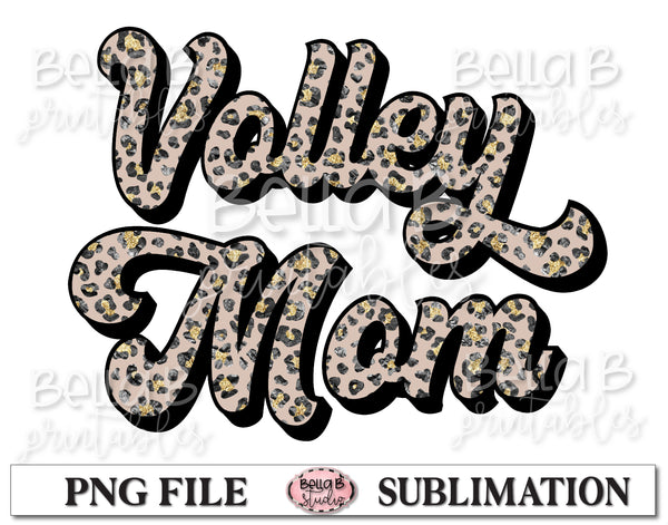 Glitter Leopard - Volley Mom Sublimation Design