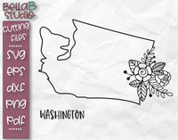 Floral Washington Map SVG File