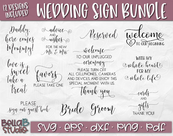 Wedding Sign SVG Bundle