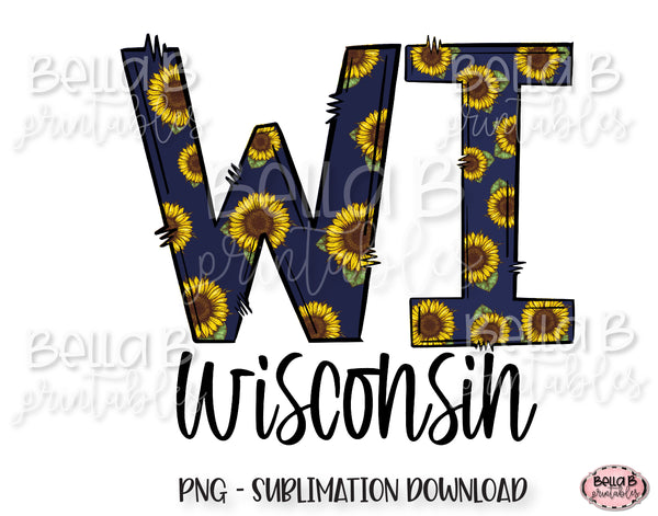 Sunflower Wisconsin State Sublimation Design