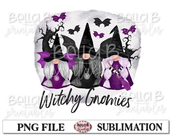 Halloween Gnomes Sublimation Design, Witchy Gnomies