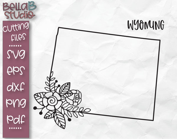 Floral Wyoming Map SVG File