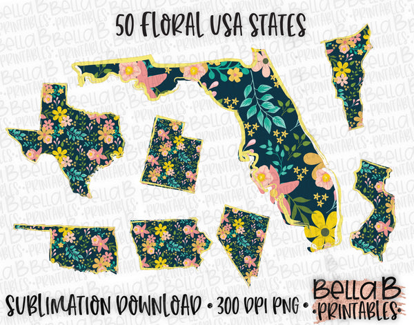 Yellow Floral United States Bundle, Sublimation Designs