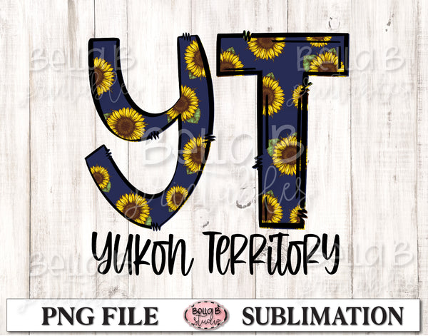 Yukon Territory Sunflower Sublimation Design