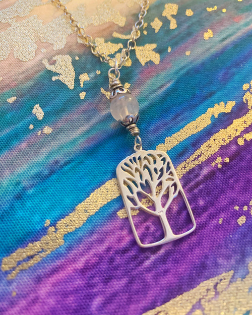 Tree of Life Sterling  Rose Quartz Necklace
