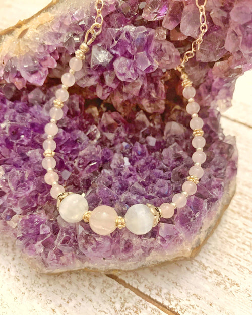 Sterling Rose Quartz and Selenite Necklace