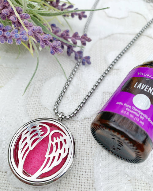 Fuchsia Angel Wing Aromatherapy Necklace