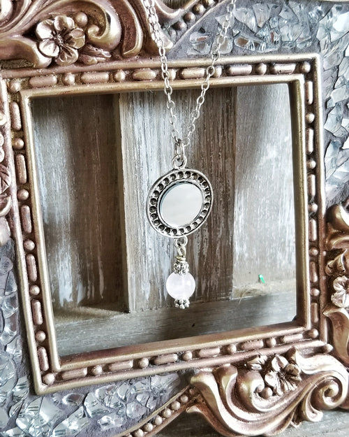 Rose Quartz Mirror Necklace