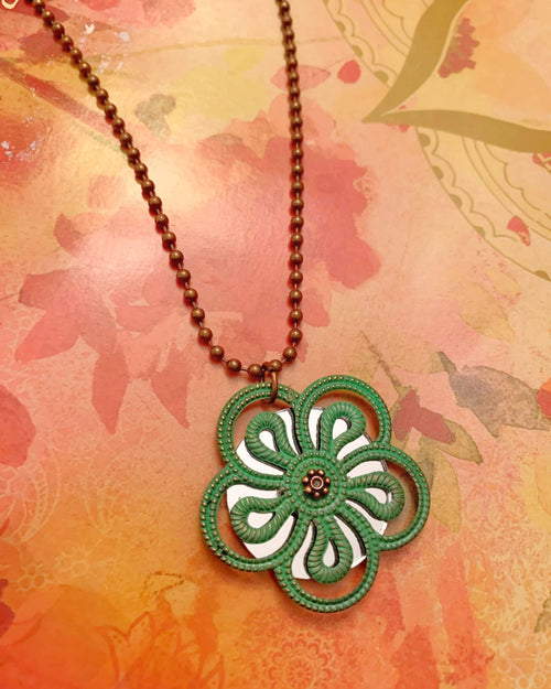 Hand Painted Green Copper Mirror Necklace