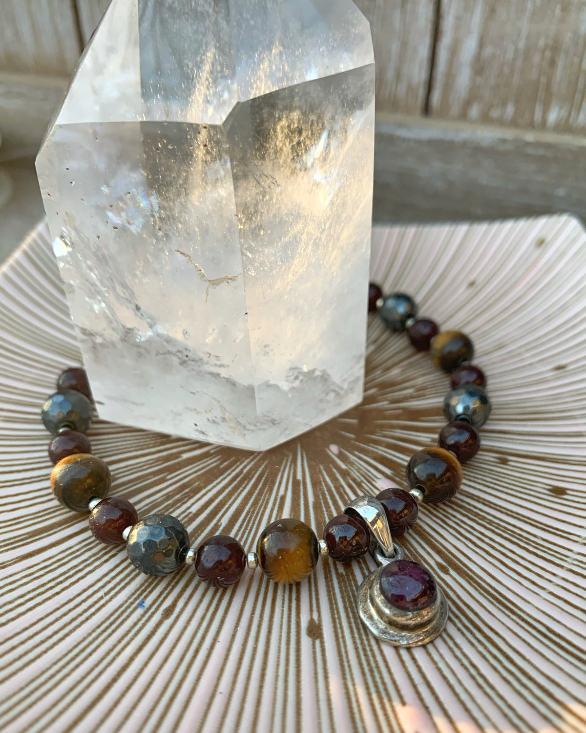 Garnet & Tigers Eye & Hematite Necklace