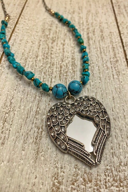Turquoise Angel Mirror Necklace