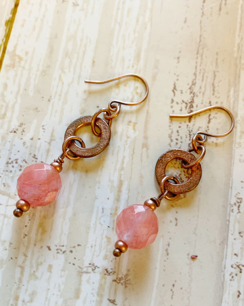Golden Cherry Quartz Earrings