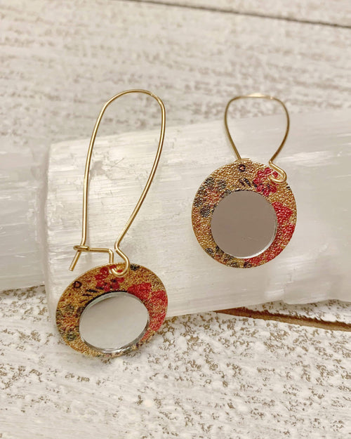 Coral and Gold Mirror Earrings