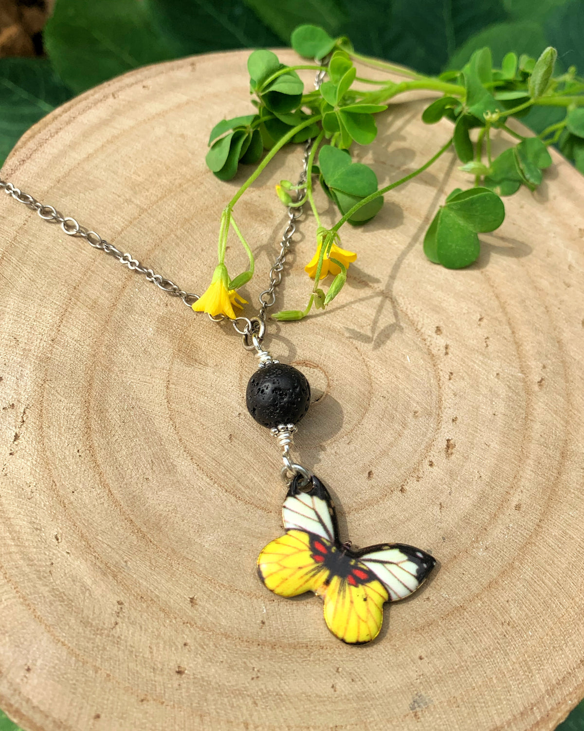 Yellow Butterfly Aromatherapy Necklace