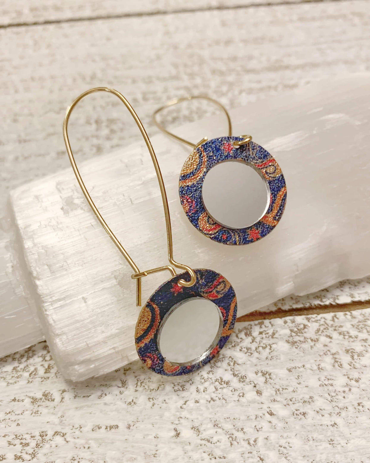 Gold and Cobalt Blue Mirror Earrings