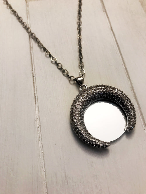 Crescent Gun Metal Mirror Necklace