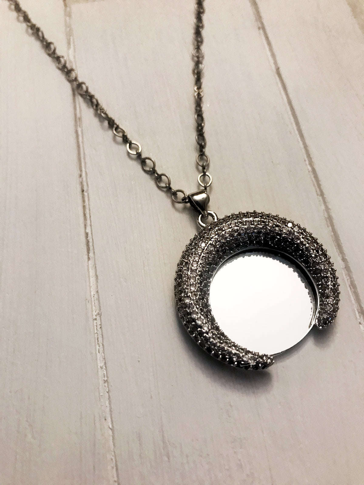 Crescent Gun Metal Mirror Necklace with Sterling Chain