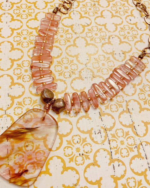 Golden Cherry Quartz Necklace