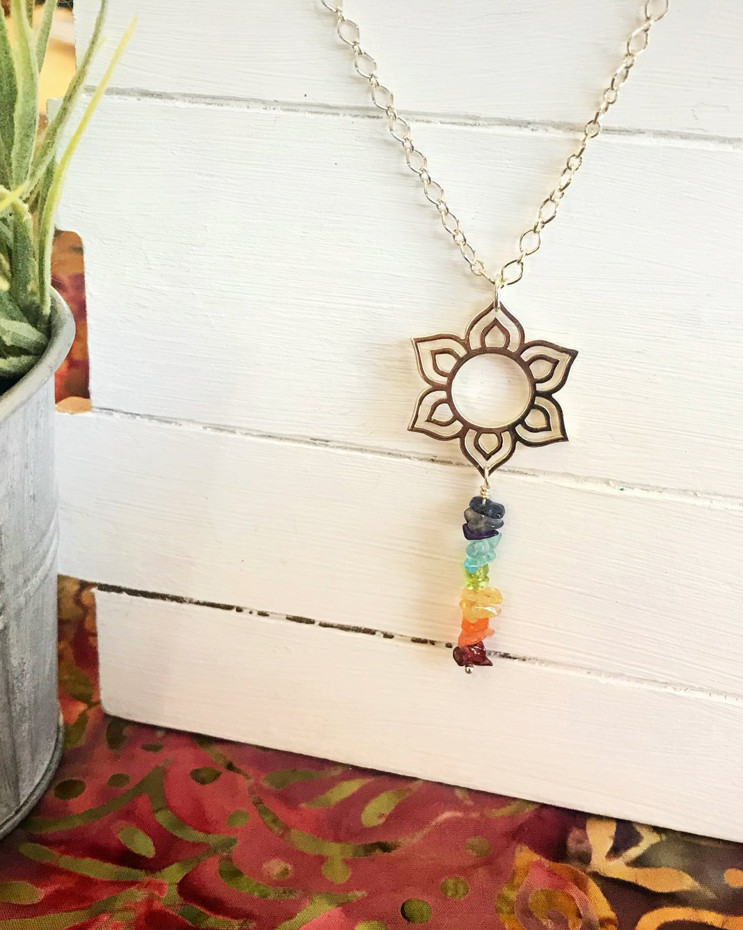 Lotus Chakra Necklace Sterling Silver
