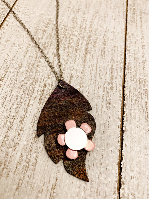Rustic Leather Leaf Mirror Necklace