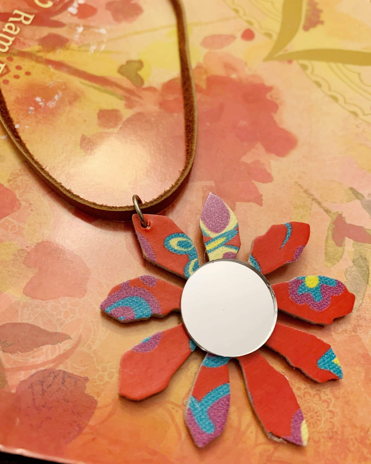 Color Burst Coral Leather Mirror Necklace
