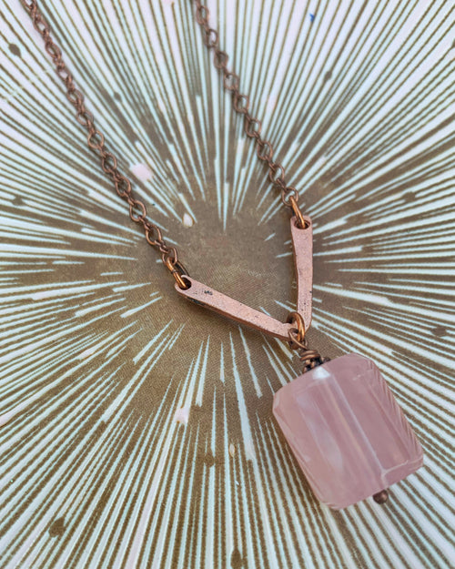 Rose Quartz and Copper V Necklace
