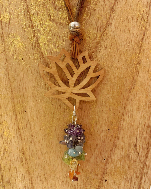 Carved Lotus and Chakra Necklace