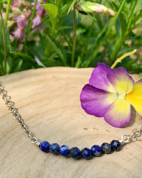 Lapis Lazuli Sterling Row Necklace