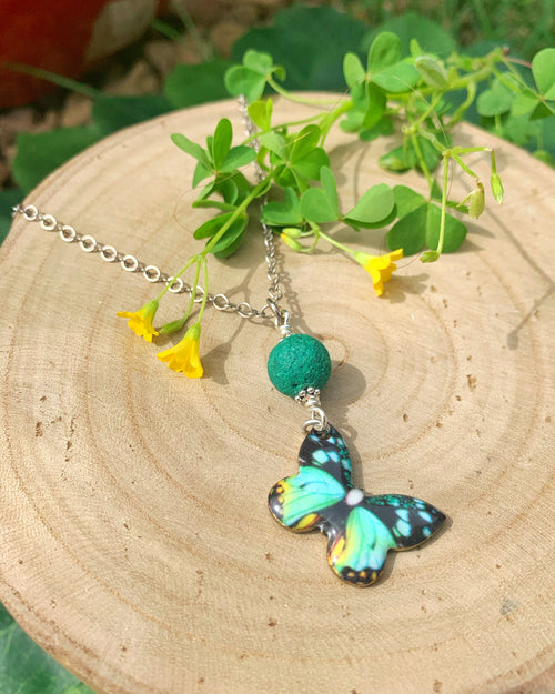 Teal Aromatherapy Butterfly Necklace